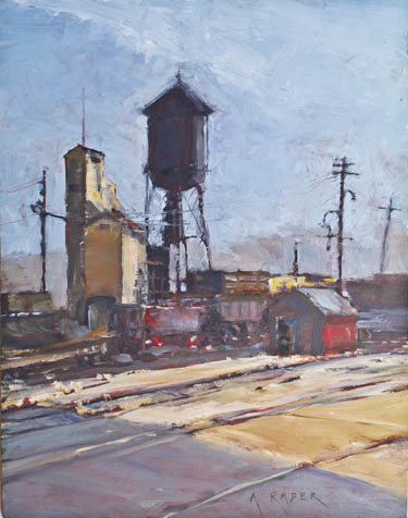 East Ely Yard Nevada Northern Railway, plain air painting by April Raber
