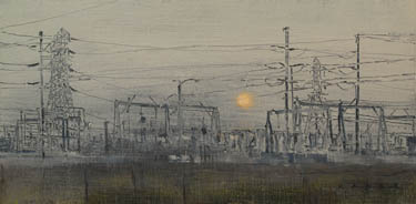 power distribution grid painting by artist April Raber