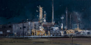 Night industrial painting by artist April Raber
