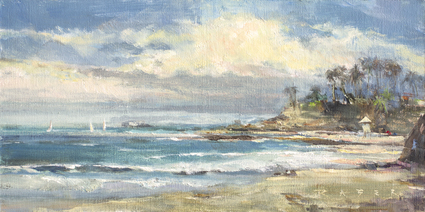 A breezy Sunday morning along Lagunas Main Beach. This painting was created during a LPAPA paintout