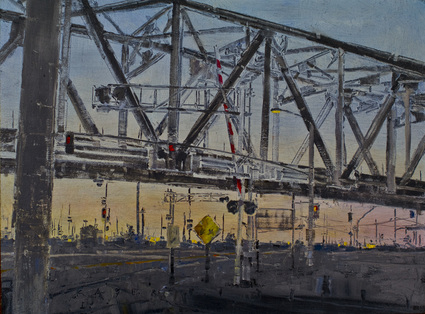 Criss Cross - Railroad oil painting by artist April Raber