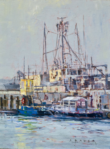 Newport Harbor Study - Harbor oil painting by artist April Raber