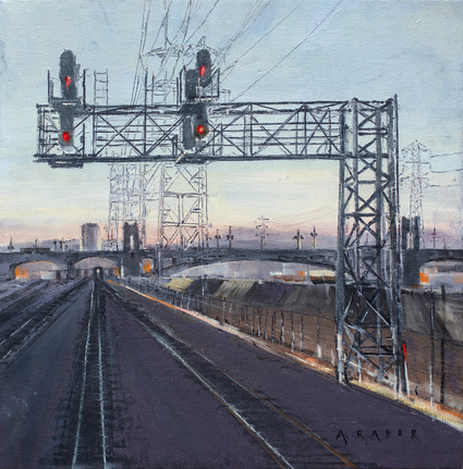 Going Home - Railroad,Urban,FOA,wet oil painting by artist April Raber