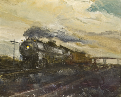 Green! Though Devore - Railroad oil painting by artist April Raber
