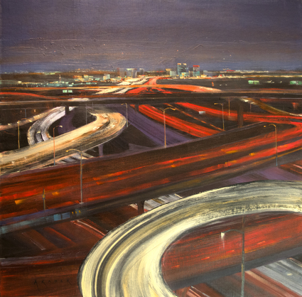 As the evening starts to descend on a January rush-hour in Los Angeles, the freeways are all aglow in white and red