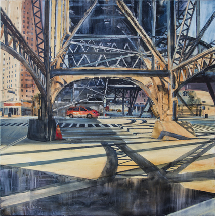 Bridges of Light - Urban,FOA,wet oil painting by artist April Raber