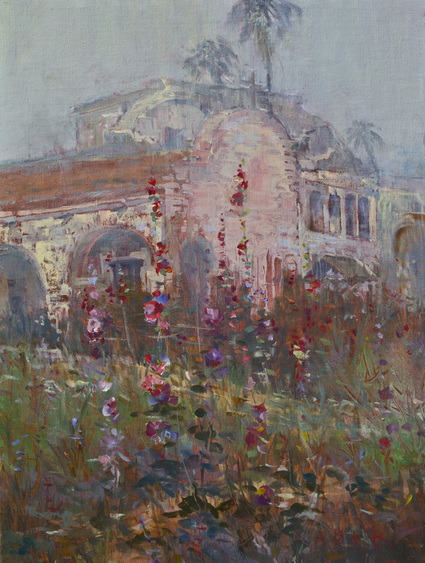 A plein air painting of the San Juan Capistrano Mission on a misty morning in June