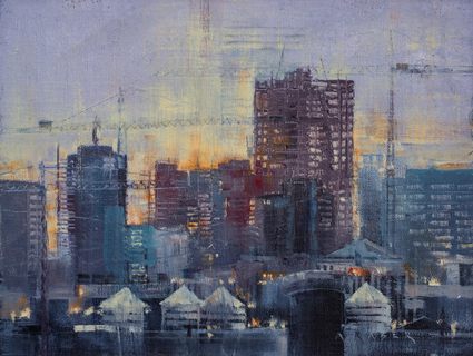 Sky Tower II - FOA, wet,Industrial oil painting by artist April Raber