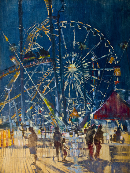 The Los Angeles County Fair in Pomona comes to town every September. Here, on a warm evening it is a whirlwind of fun